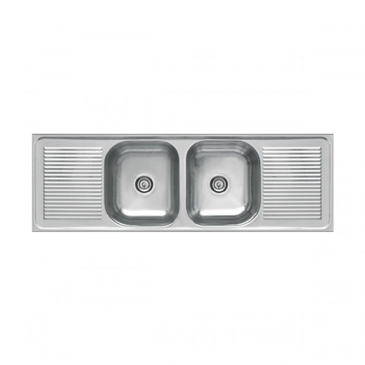 Italtile - Frasa Pride Drop In Double Sink With 2 Drainers And 2 Basket Strainer Wastes 1500x510x140mm