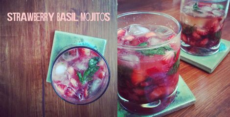 strawberry basil mojitos. never had one... need to get together with ...