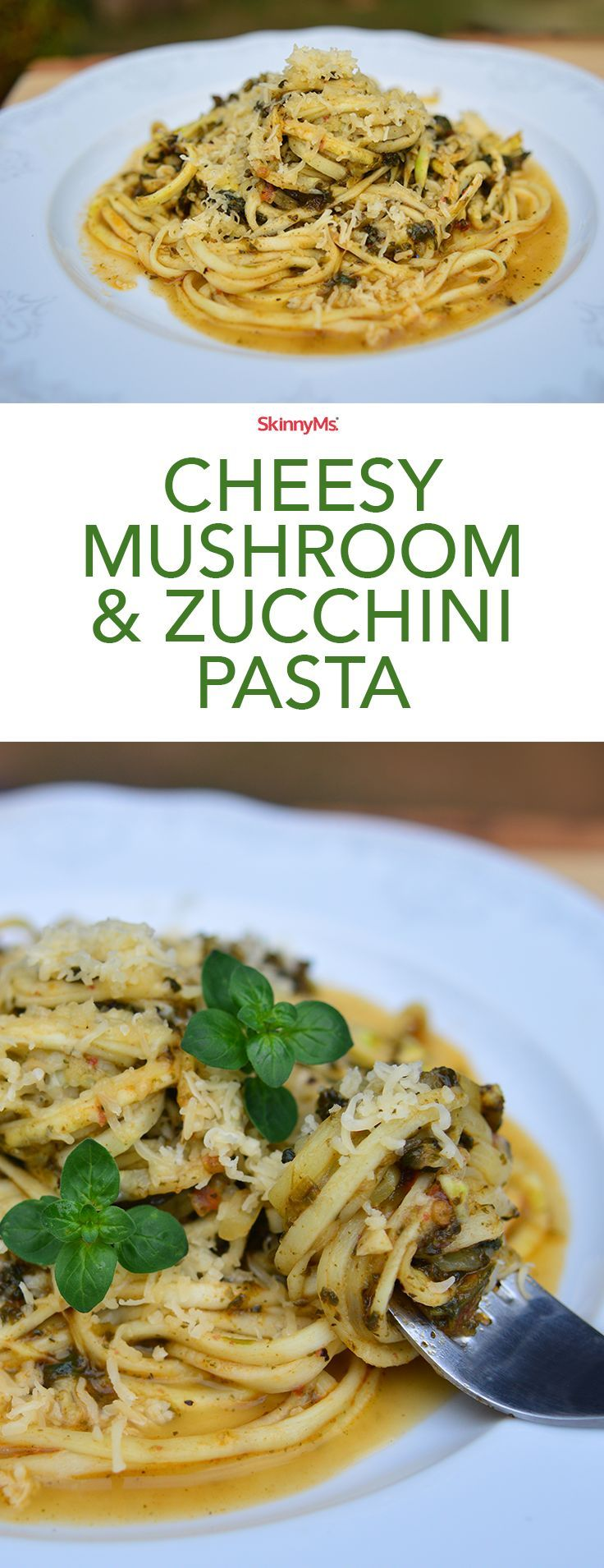 Indulge in pasta without worrying about your waistline.  This Cheesy Mushroom & Zucchini Pasta is only 122 calories and 5 SmartPoints per serving! #pasta #cleaneating