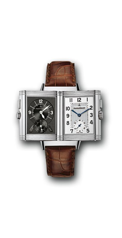 Jaeger-LeCoultre Reverso Duo (2718410): $9,950 (MSRP), 42.2 x 26 mm x 9.3 mm, steel, calibre 854/1 (manual, 21,600 vph)