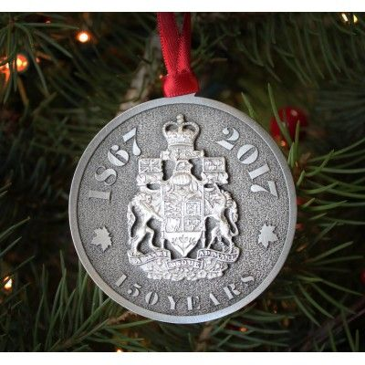 Offered in your choice of classic pewter or sparkling bright nickel, this ornament celebrates Canada's 150th birthday and features a 3D sculpted Coat of Arms.