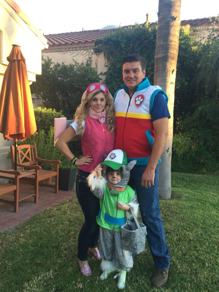 Diy paw patrol Rocky Skye Ryder family costume Halloween homemade