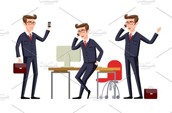 Businessman in a office workplace by Rommeo79 on @creativemarket