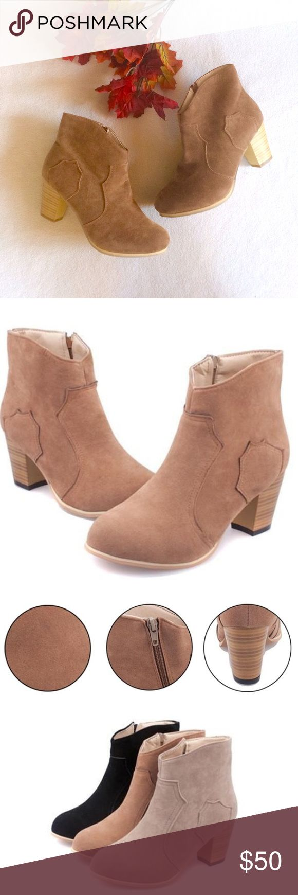 """Camel Ankle Booties New in package camel colored ankle booties. They are faux suede. The color is a bit darker than the stock photos and more like the photo I took myself. They have cheetah print on the inside and zip up the side. It is a European size 38 and fits American women size 7. Shoe is about 9"""" long, 3.5"""" wide, 7"""" tall, with a 2.5"""" heel. Measurements may not be completely exact since it is hard to measure shoes but they are almost exact. These shoes are completely on trend and…"""