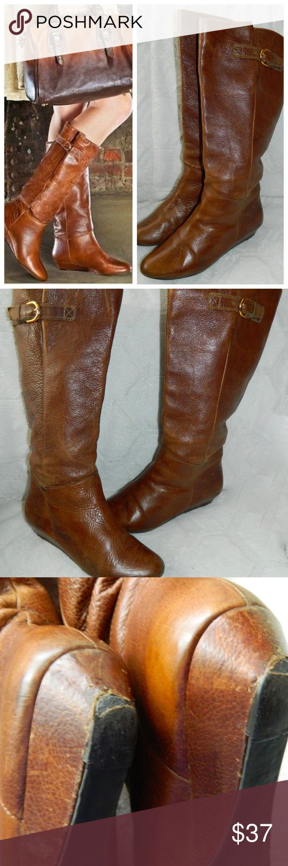 STEVE MADDEN INTYCE Sz 7.5 RIDING BOOTS Cognac TAN PLEASE NOTE some wear to heels Steve Madden Shoes Heeled Boots