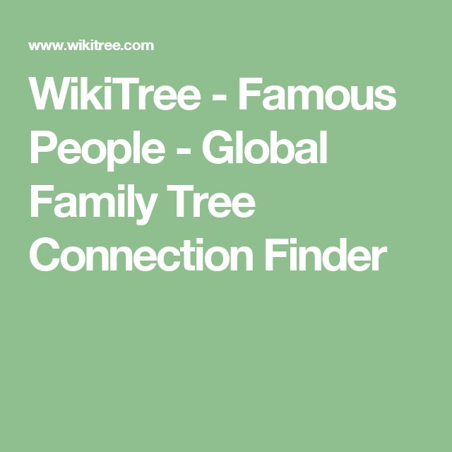 WikiTree - Famous People - Global Family Tree Connection Finder