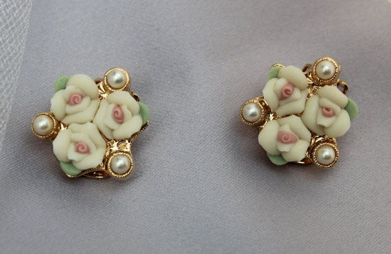 Vintage Bridal Pearl & Porcelain Rose by ButterflyEffectInc, $35.00 THESE AREN'T FOR MY HAIR!!! I JUST LOVE THEM!!!