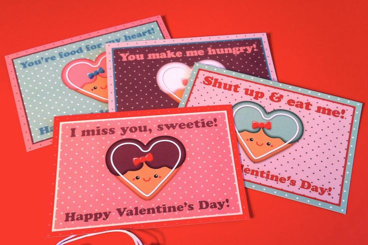 Set 4 postcards - HAPPY VALENTINE'S DAY di bluecuckoostudio su Etsy
