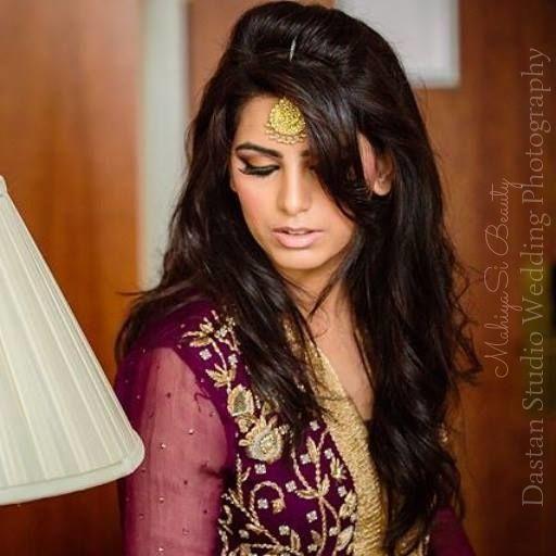 Pakistani Outfit, Bridal Makeup, Purple and Gold, Maang Tikka, Hairstyle.