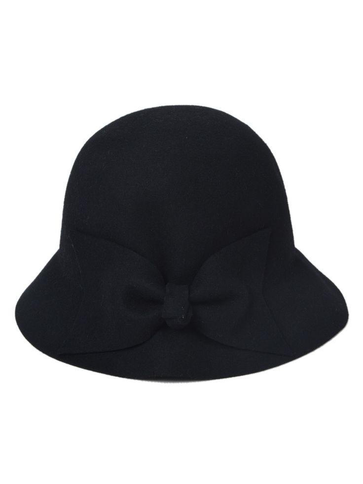 Hat LOVE! Love the Bow! So Cute! Bow Felt Hat in Black #Bow #Felt #Hat #Fall #Fashion #Accessories