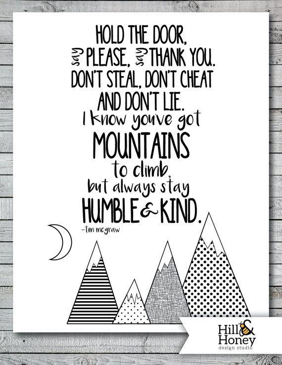 Always Stay Humble and Kind - Full Chorus - Tim McGraw - Printable Art Print