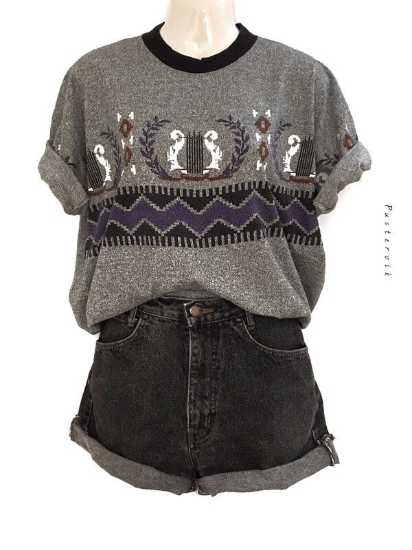 My Casual Hipster Vintage Print Oversize Shirt Pattern Gray Melange Urban Style from true vintage. Size Uni for 28,00 €. Take a look at it: www ...
