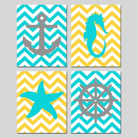 Chevron Beach Nautical Art Quad - Starfish, Seahorse, Anchor, Wheel Silhouette - Set of Four 8x10 Prints - Choose Your Colors on Etsy, $65.00
