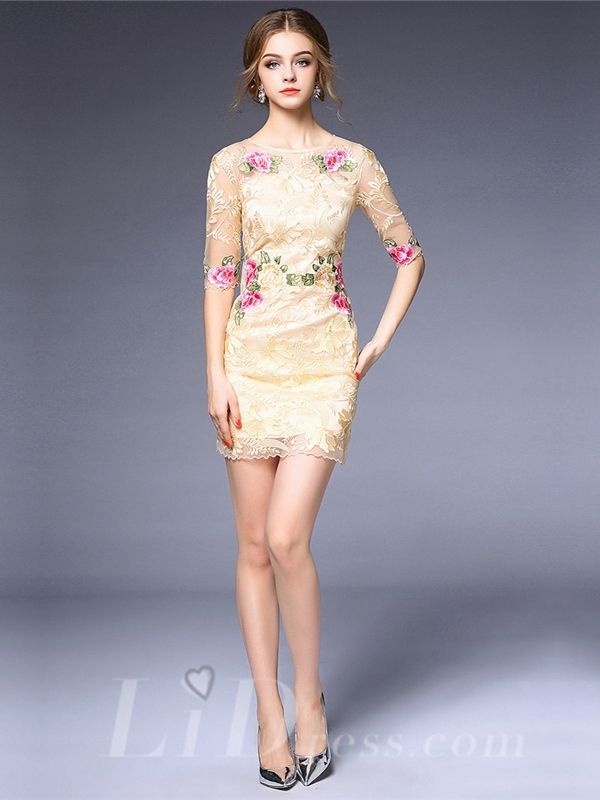 Spring 2016 Half Sleeves Floral Short Dress