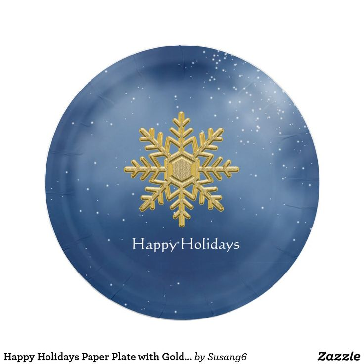 Happy Holidays Paper Plate with Gold Snowflake  sc 1 st  Pinterest & 96 best Paper Plates Cups and Napkins images on Pinterest | Paper ...