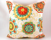 2 PILLOW COVERS Orange Teal Aqua Yellow Red Green Cream on Front & Back Any Size. $40.00, via Etsy.