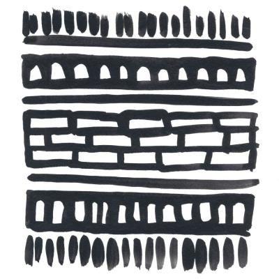 """GIANT ART 54 in. x 54 in. """"""""Weft III"""""""" by June Erica Vess Wall Art, Black – White"""