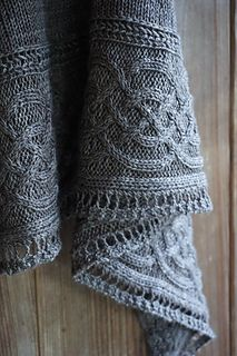 Celtic myths shawl knitting pattern, free on Ravelry
