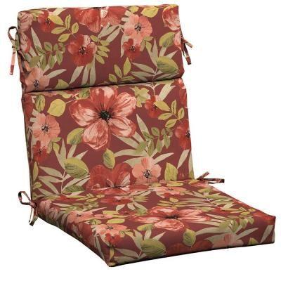 Patio Cushion Ideas   Hampton Bay Chili Tropical Blossom Outdoor Dining Chair  Cushion   The Home