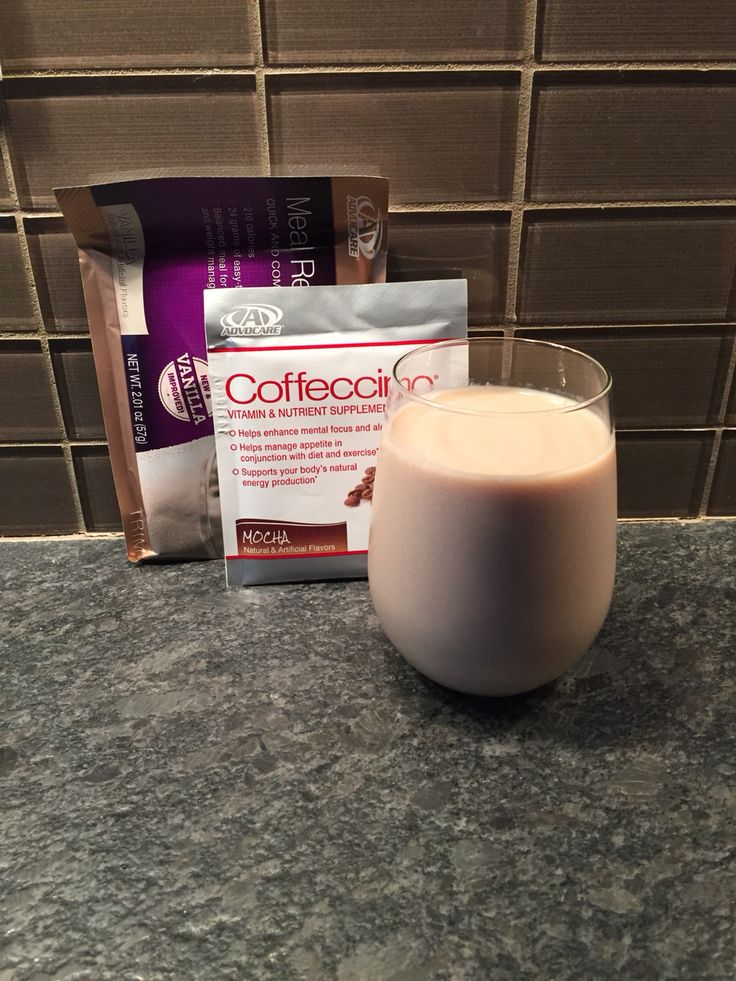 Forget those high in calorie high in sugar frappuccino , try this healthier version instead . 1packet each AdvoCare Vanilla Meal Replacement AdvoCare Coffeccino, Add a few ice cubes and 10 oz water Blend and ENJOY!! www.damrondaily.com