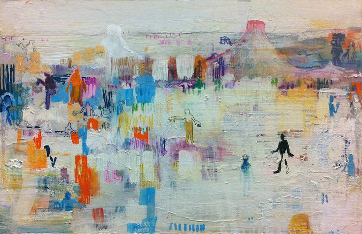 Lasse Juuti, connecting people 2, 30 x 20, Mixed media on wooden board / The Art of Basware 2013