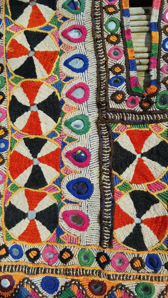 Indian Vintage Handmade Banjara Neck Yoke Thread With Beads,Embroidery Work Applique Patch Sewing cr