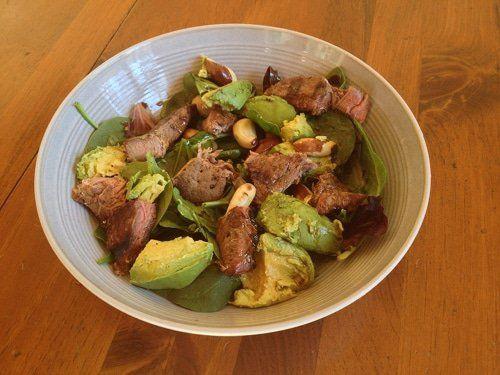 man manly steak beef avocado lettuce