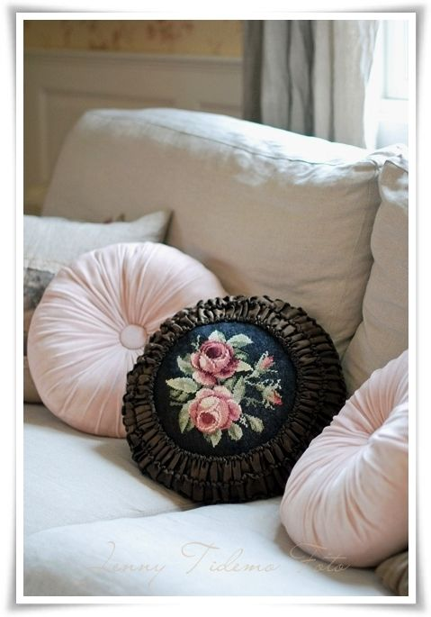 Pretty needlepoint...vintage pillows. #interior #sofa #living_room