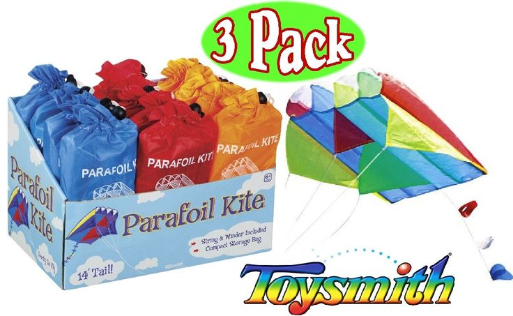 """Toysmith Parafoil Kites Red, Blue & Orange Gift Set Bundle - 3 Pack. Gift Set Bundle Includes 3 Different Toysmith Parafoil Kites (Red, Blue & Orange)!. Each kite includes string, winder and a handy storage bag. Each kite measures 20"""" long kite with 14' tail and comes in bright vibrant colors. Perfect for travel, party favors, giveaways, schools, organizations, stocking stuffers, special needs, therapy, stress relief & so much more!. For Ages 6 and up."""