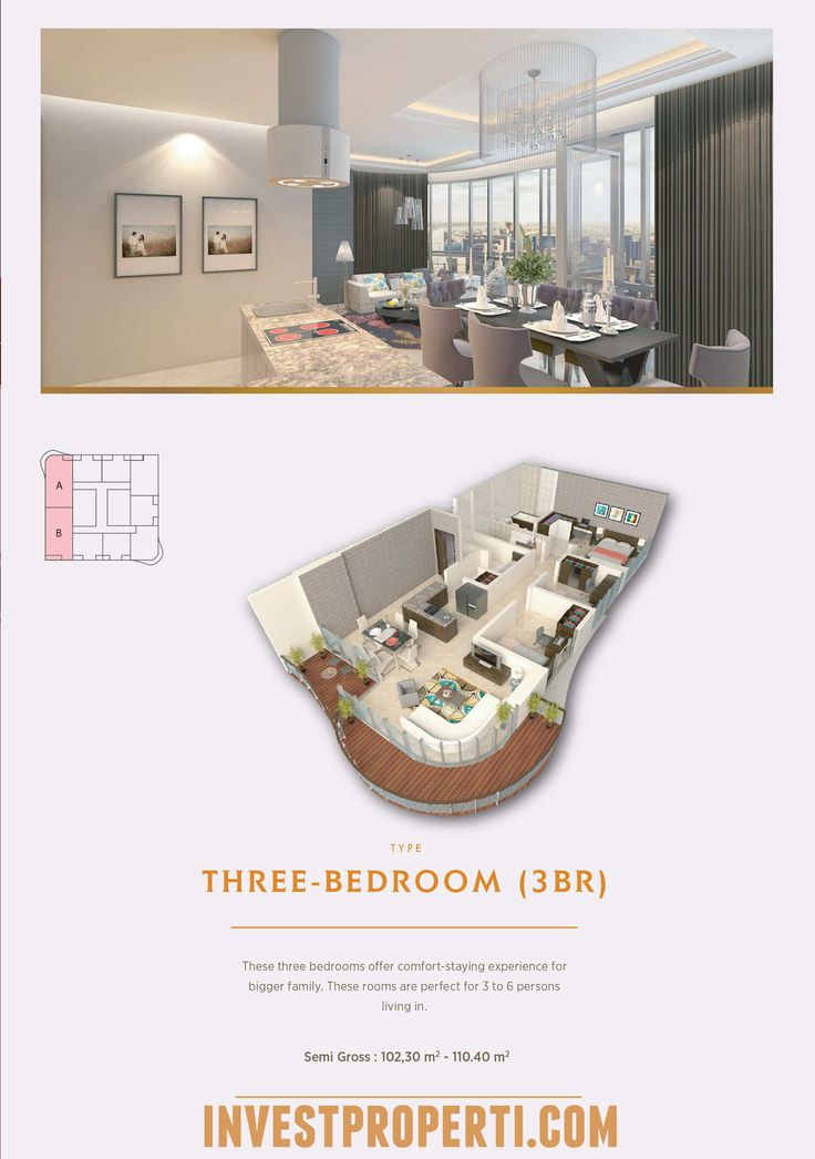 Tipe 3BR Apartemen The Noble Alam Sutera