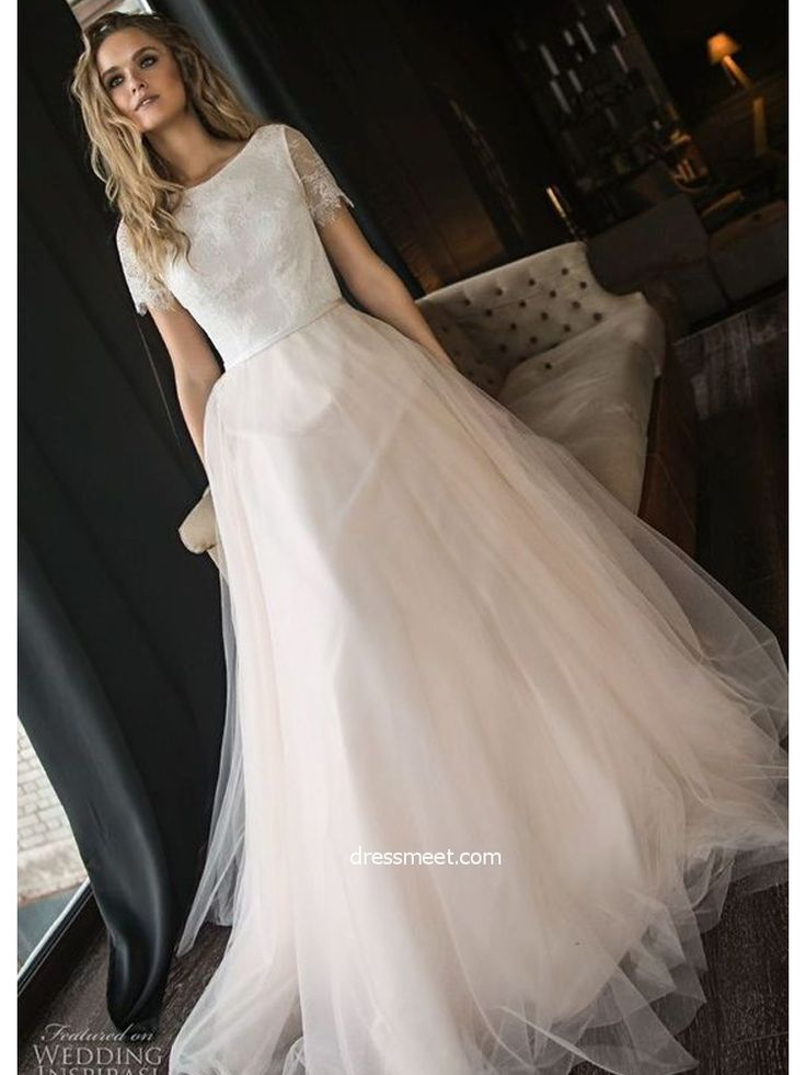 » Gorgeous Ball Gown Scoop Short Sleeves Lace Champagne Long Wedding Dresses