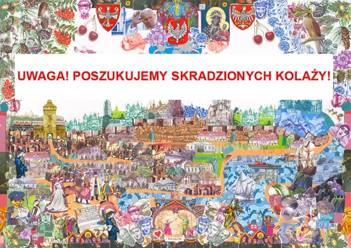 """UWAGA! POSZUKUJEMY TRZECH KOLAŻY POLI DWURNIK SKRADZIONYCH Z WYSTAWY """"CZAS KOLAŻU"""" W GALERII KORDEGARDA W WARSZAWIE!!!  W piątek 8 marca 2013 w godzinach popołudniowych dwóch niezidentyfikowanych mężczyzn wyniosło z wystawy """"Czas kolażu"""" w Galerii Kordegarda przy Krakowskim Przedmieściu 15/17 trzy kolaże Poli Dwurnik ułożone z kilkunastu tysięcy fragmentów polskich znaczków pocztowych.    Pola Dwurnik apoloniadwurnik@gmail.com  Marta Czyż kordegarda@nck.pl  Tel. Galerii Kordegarda: 224210125"""