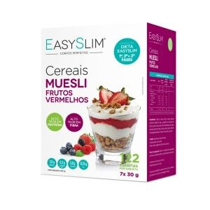 EasySlim Muesli Frutos Vermelhos são cereais hiperproteicos com apenas 122 calorias, com alto teor de fibras, sendo uma alternativa prática e saudável ao pequeno-almoço ou ao lanche da manhã/tarde. EasySlim Muesli Frutos Vermelhos deve fazer parte de um regime alimentar variado e equilibrado e de um modo de vida saudável.
