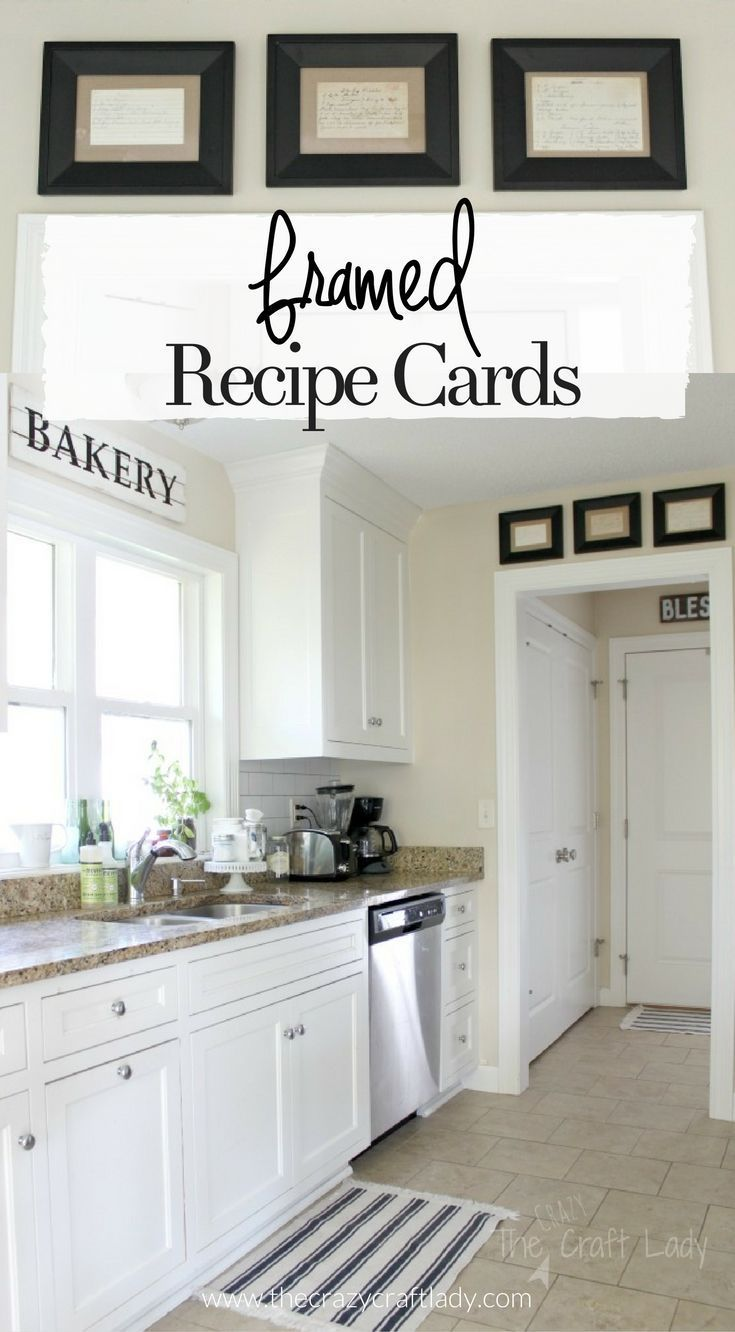 Framed Recipe Cards - display favorite family recipes for sentimental kitchen wall decor