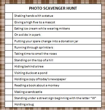 photo-scavenger-hunt - cool idea for high school  youth groups (I did it with high school kids many years ago but back then we had to use a Polaroid camera - now ther are smart phones). It's also fun to then come back and show on a projector if possible.