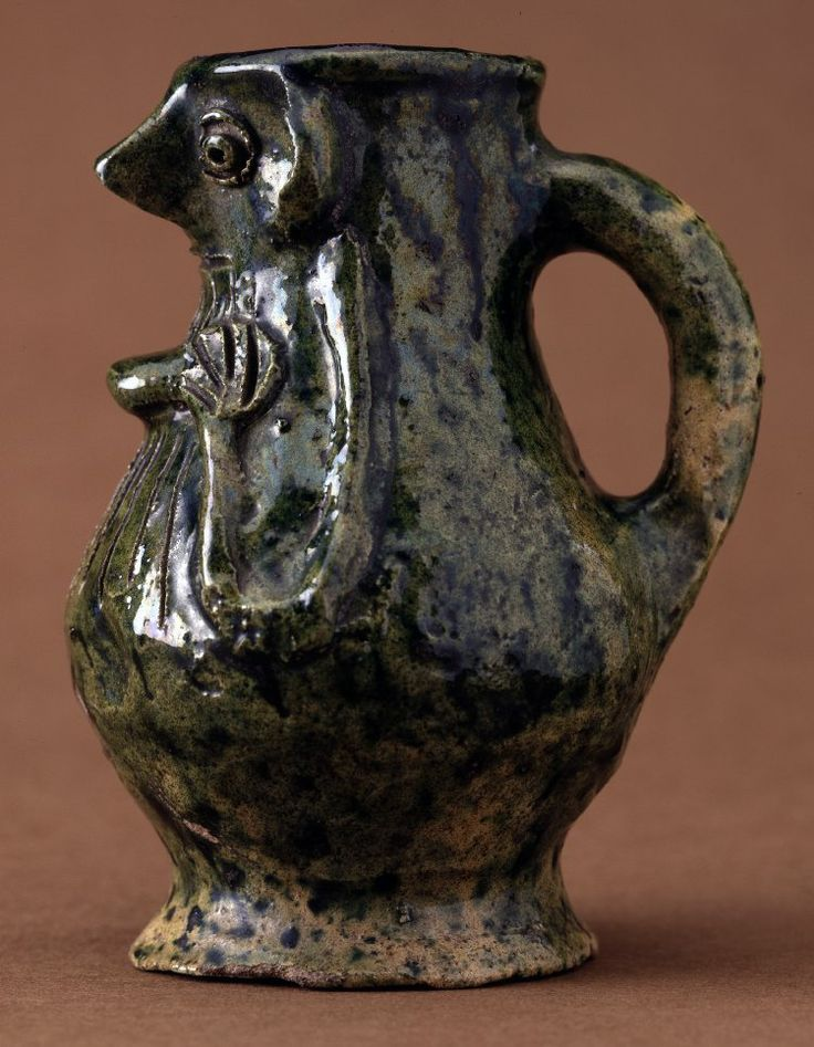 Pottery face-jug; Kingston-type Ware;  British Museum.