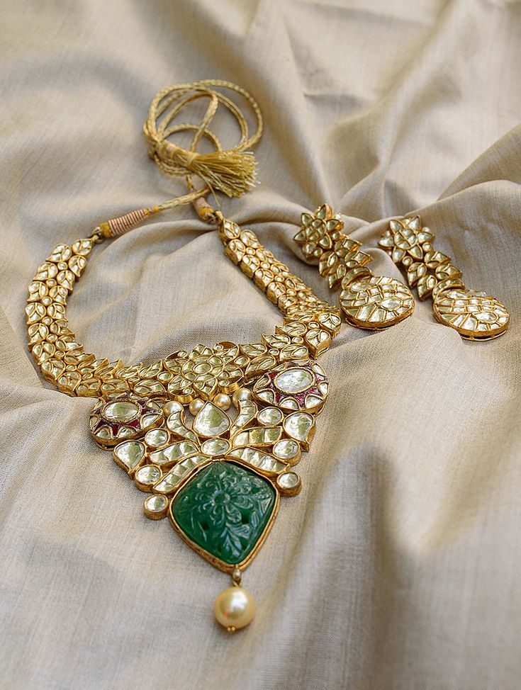 Buy Golden Green Red Mughal Mystique Silver Necklace with Pair of Earrings Jade Garnet Rosecut Quartz Online at Jaypore.com
