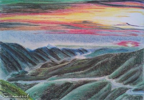 Scenery with oil pastel
