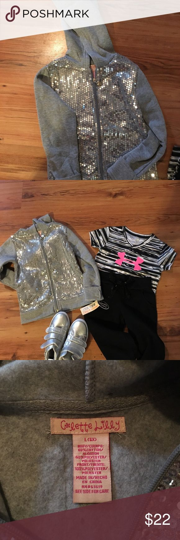 Colette Lilly sequin fleece Girls Gray sequin fleece jacket..brand new with tags..size 6x large..perfect for Christmas present..2nd pic items sold separately..love to bundle Jackets & Coats