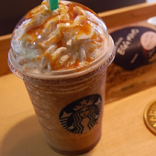 Caramel Frappacino.....awesome in a to-go container!!!!