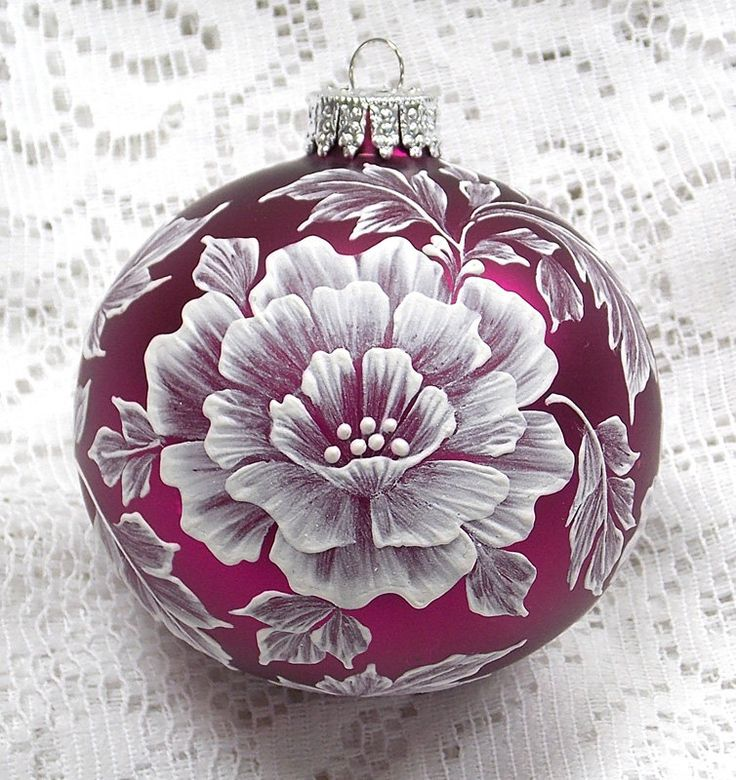 Deep Pink Hand Painted White MUD 3D Texture Floral Ornament 310 by MargotTheMUDLady on Etsy - SOLD!