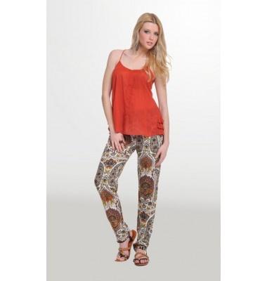 Εμπριμέ παντελόνα με σχέδια λαχούρια & λάστιχο στη μέση, 1-320102  ethnic trousers women's fashion
