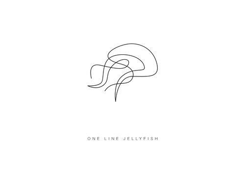 Jellyfish one line easy draw tiny tattoo animal sketch