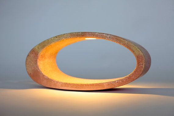 Concrete Lamp Ovaal tafellamp van gooeybrand op Etsy