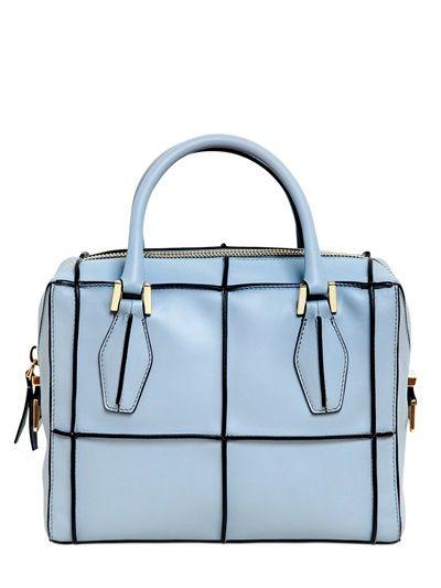 Geometric leather bag in light blue by Tod's | LUISAVIAROMA