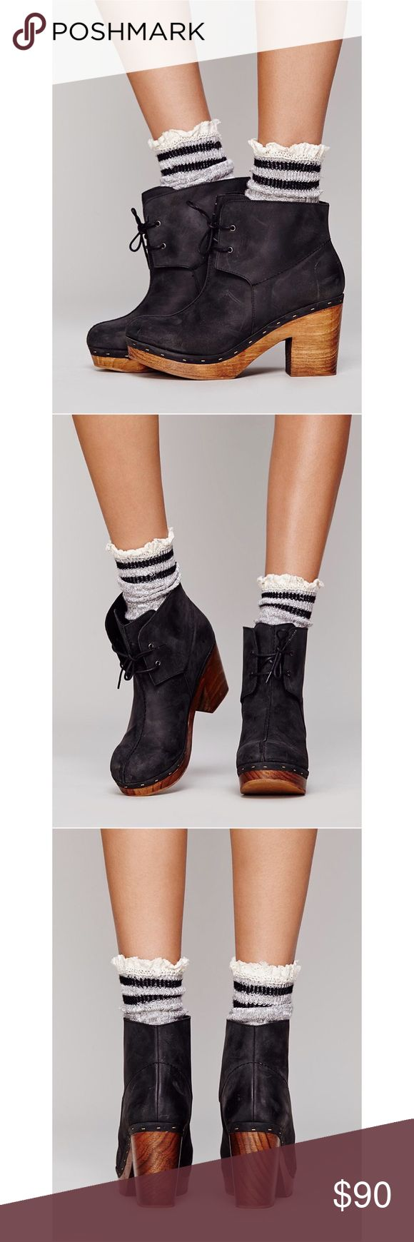 Free People I'm With A Dreamer Clog Boot Free People I'm With A Dreamer Clog Boot There is some slight wear to them but they are still in good wearable condition. Black leather with a natural wood heal. Free People Shoes Lace Up Boots