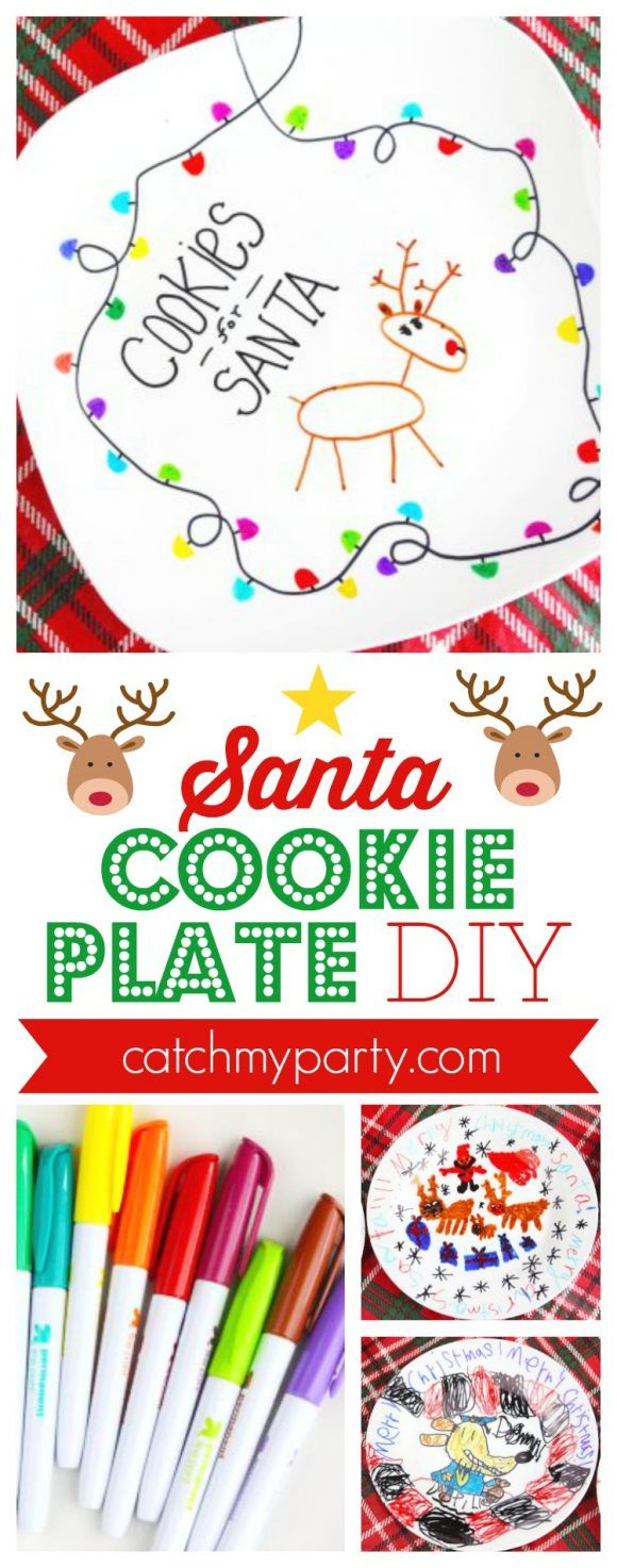Make this Santa Cookie Plate DIY using a ceramic plate and Sharpies! #christmascraft #kidcraft #kidchristmascraft #easycraft | CatchMyParty.com