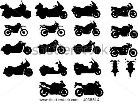 Vector silhouettes of different types of motorcycles by Nikita Rogul, via Shutterstock
