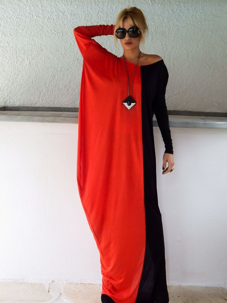 Black & Red Long Sleeve Maxi Dress / Black & Red Kaftan / Asymmetric Plus Size Dress / Oversize Loose Dress / #35057