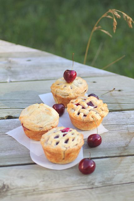 Mini Cherry pies {Adventuress Heart}